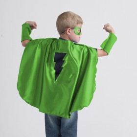 Superhero Cape, Green with Black Bolt